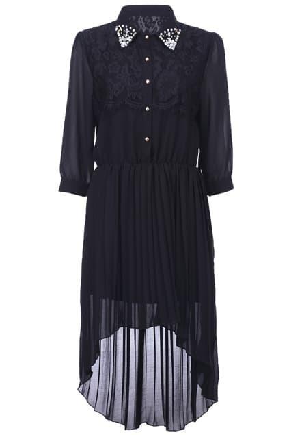 Asymmetric Diamnate Black Dress