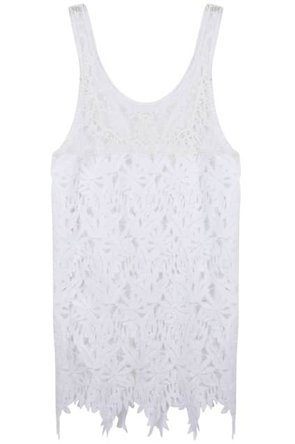 Hollow-out White Lace Dress