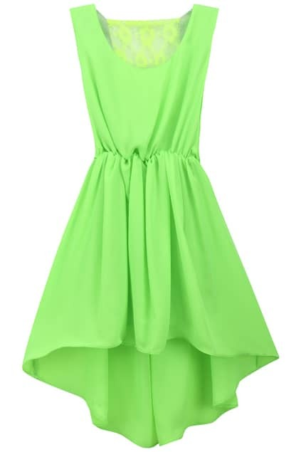 Asymmetric Hollow-out Fluorescent-green Dress