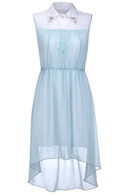Asymmetric Diamnte Collar Light-blue Dress