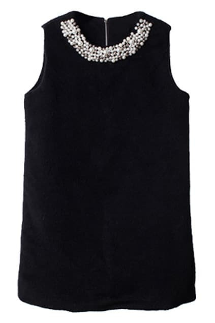 Pearled Sleeveless Black Dress