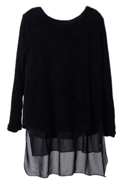 Splicing Asymmetric Black Dress