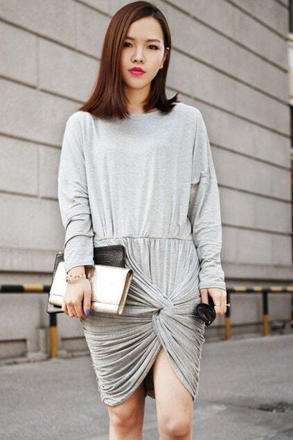 Drape Sleeves Grey Dress