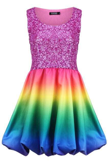 Rainbow Color Sequined Dress