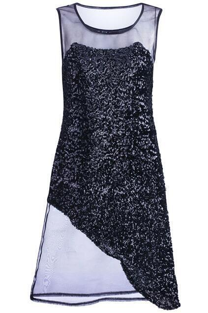 Black Sequin Gauze Splicing Dress