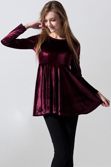 Claret-red Flouncing Dress