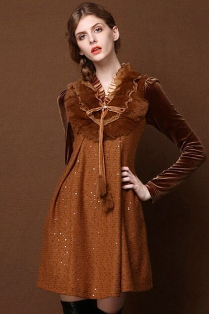 Paillette Brown Autumn Dress