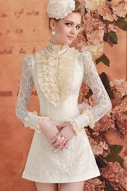 A-line Cream- coloured Autumn Dress
