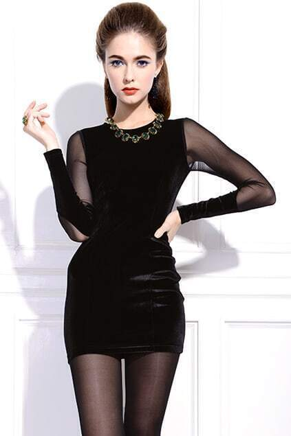 Pleuche Black Autumn Dress