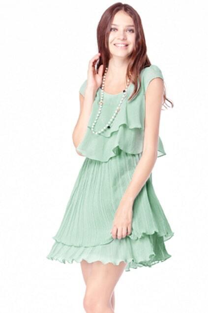 Layered Flouncing Green Dress