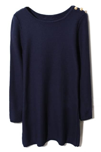 Buttoned Dark-blue Knitted Dress
