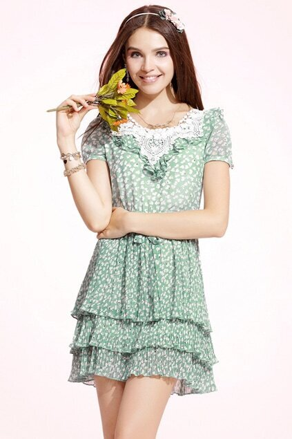 Puff Sleeves Green Dress