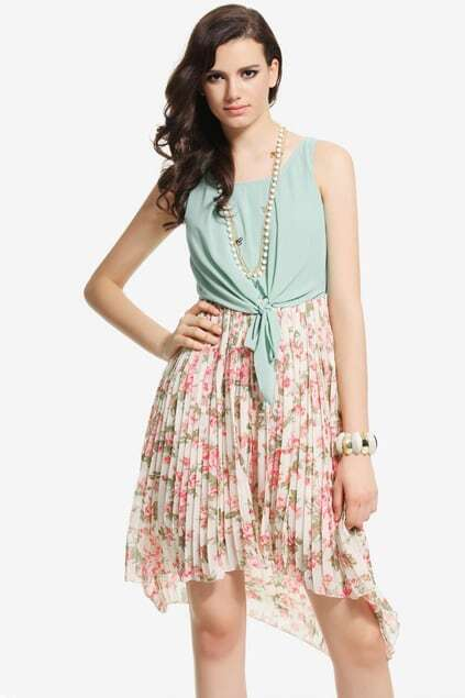 Scoop Collar Green Dress