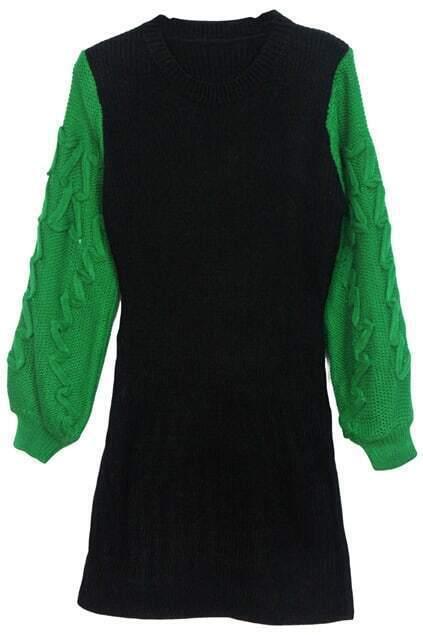 Puff Green sleeves Autumn Dress