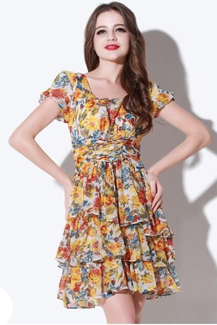 Layered Yellow Floral Dress
