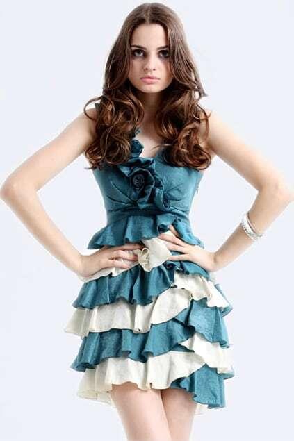 Flouncing V-neck Blue Dress