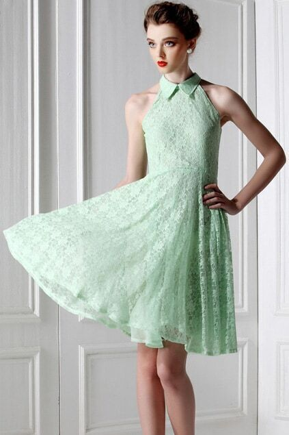 Lace Flowers Green Dress