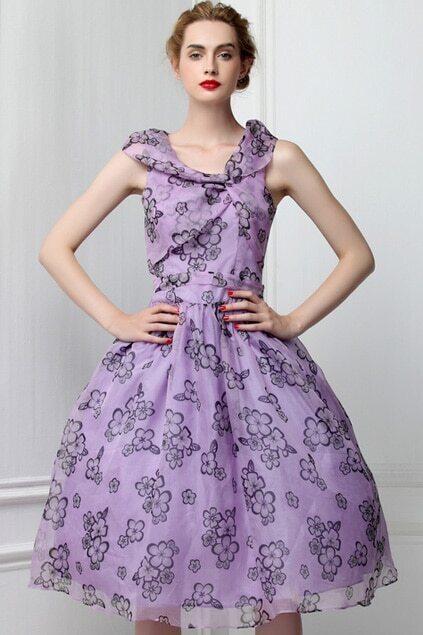 Flower Lace Purple Dress
