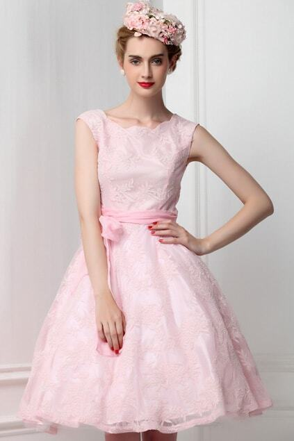 Flowers Inwrought Pink Dress