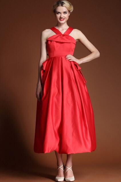 Bowknot Back Red Dress