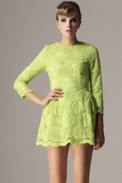 Light Green Flowers Dress