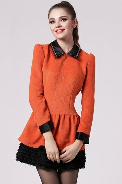 Pleats Hem Orange Dress