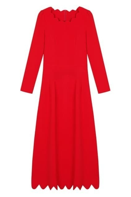 Petal Hem Red Autumn Dress