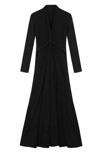 V-neck Black Autumn Dress