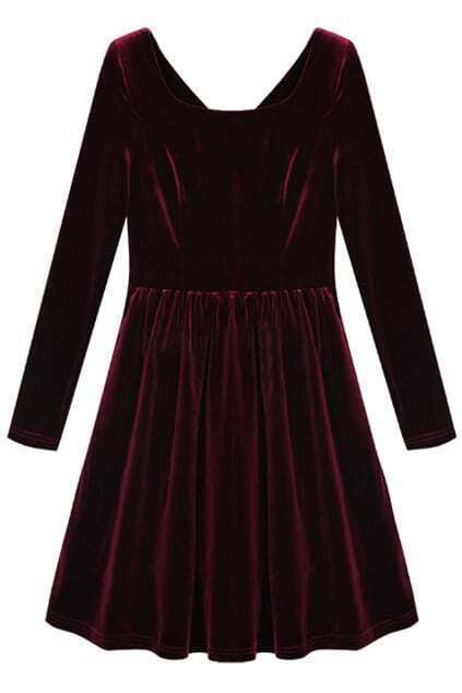 Pleated Hem Wine-red Autumn Dress