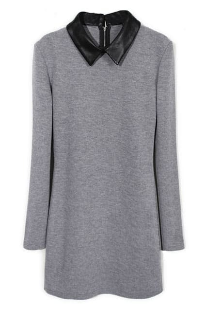 Splicing PU Grey Dress