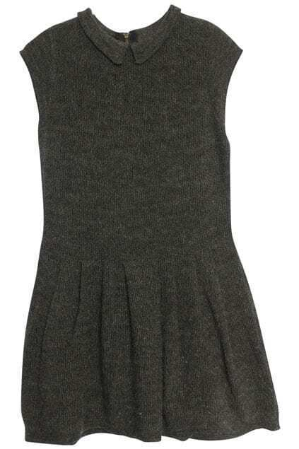 Flouncing Zipper Grey Dress