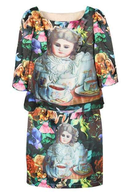 China-doll Print Two-piece Dress