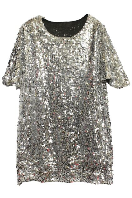 All-over Sequined Silver Dress