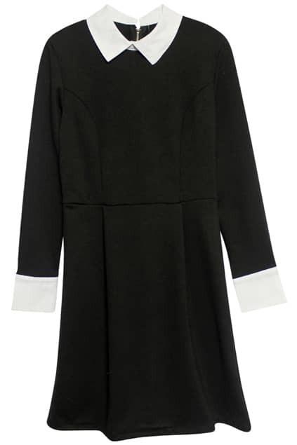 Zippered Contrast Color Black Dress