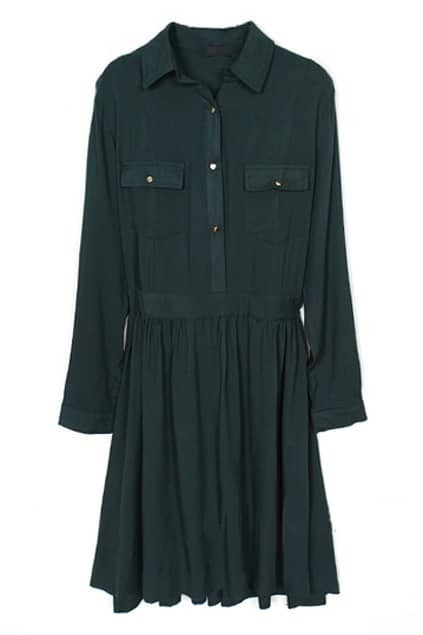 Pleated Blackgreen Shirt Dress