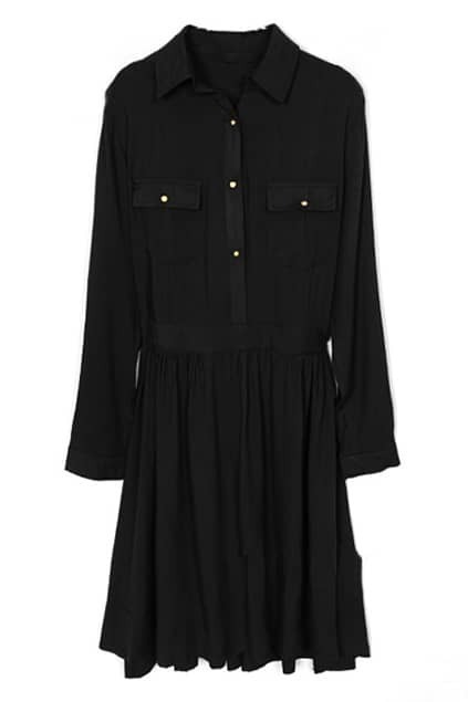 Pleated Black Shirt Dress