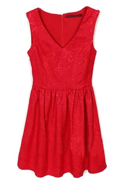 Red Jacquard V-neck Dress