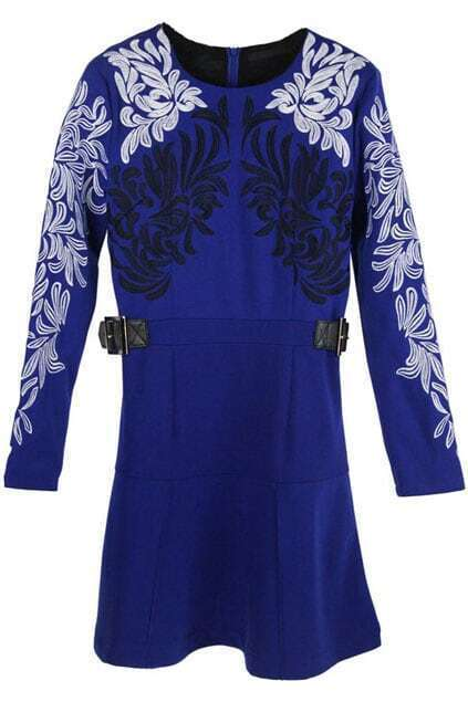 Embroidered Print Blue Dress