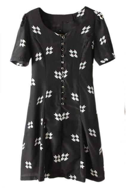Black Buttoned Heart Pattern Dress