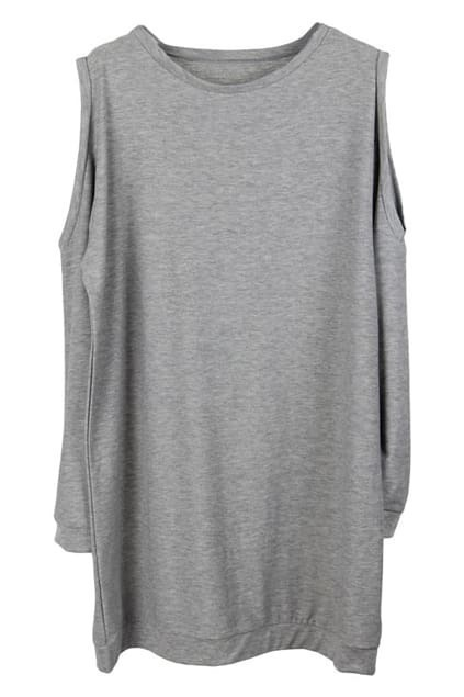 Shoulder Exposed Grey Dress