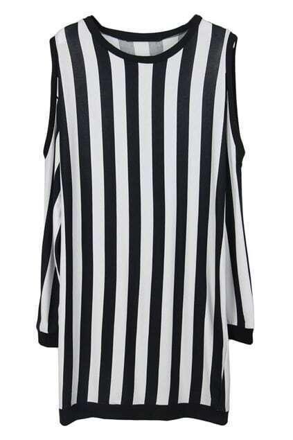 Shoulder Exposed Stripe Dress