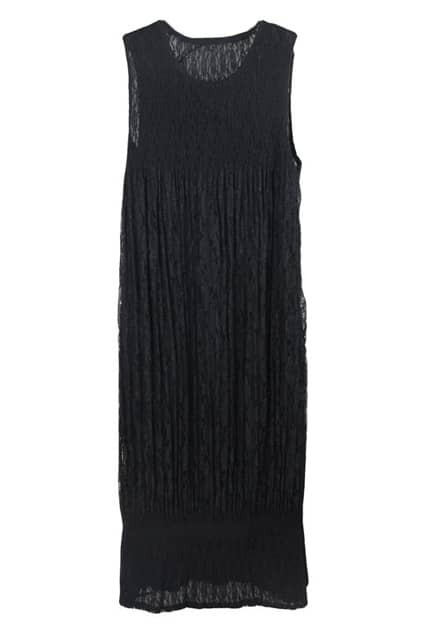 Black Wrinkled Sleeveless Dress