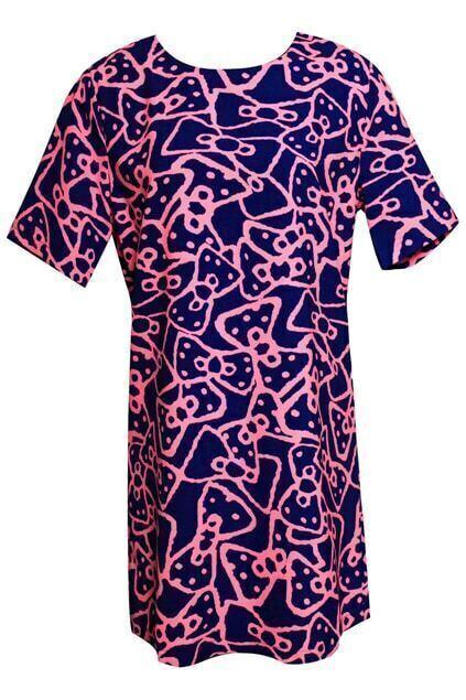 Bowknot Print Chiffon Dress