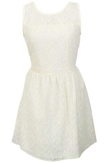 Hollow Lace Crochet White Dress