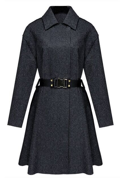 Belt Flouncing Dark-grey Woolen Coat
