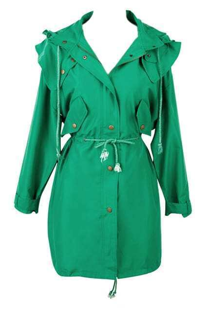 Loose Pleated Green Trench Coat