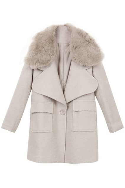 Loose Faux Fur Woolen Coat