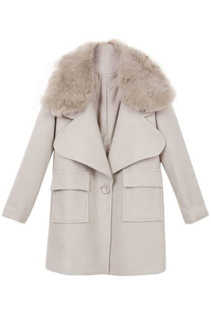 Loose Faux Fur Woolen Coat