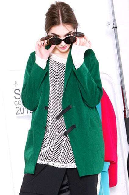 Dark Green Elastic Pull Clasp Coat