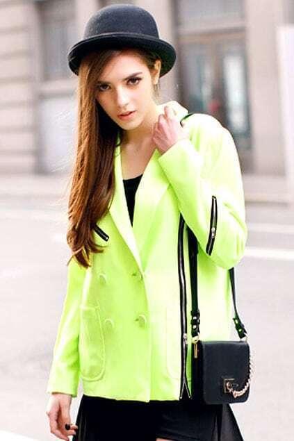 Double-beasted Lapel Flourecent-green Coat